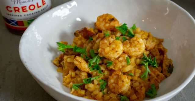 Mesa de Vida Creole Cauliflower Rice Jambalaya Recipe dinner image