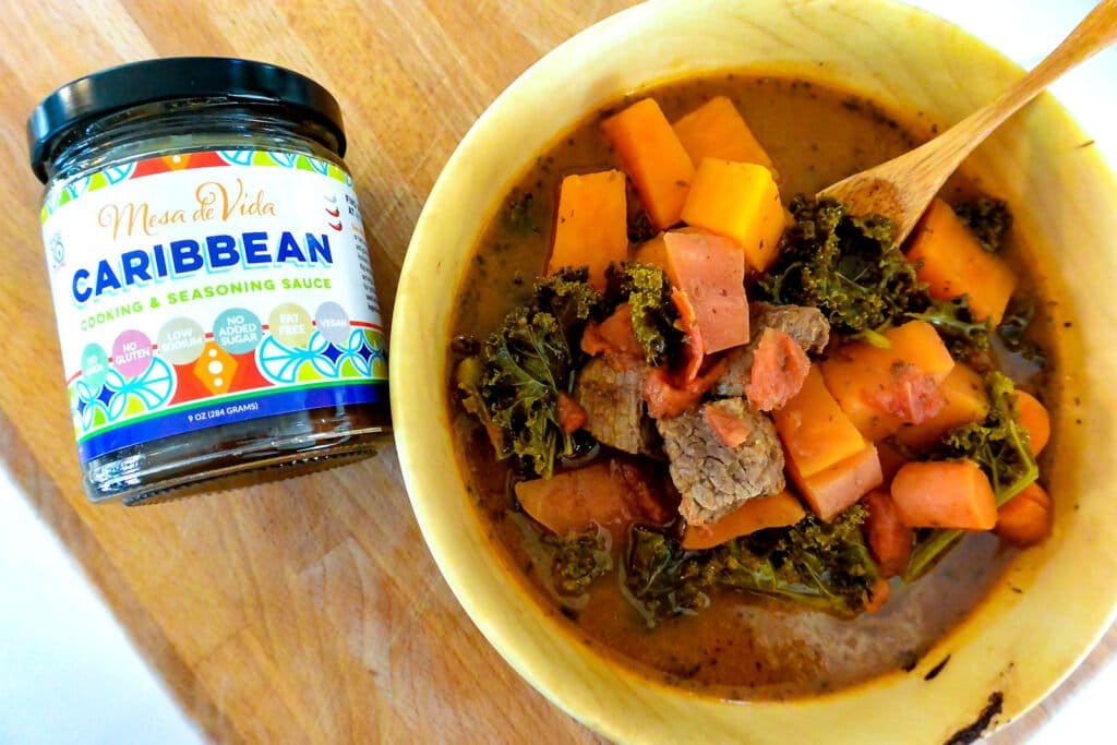 Caribbean slow cooker pepper pot stew in a bowl