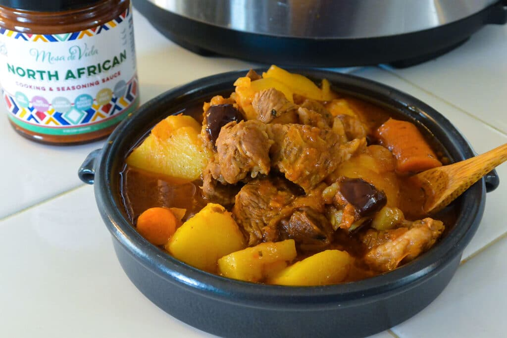 slow cooker lamb tagine in a bowl