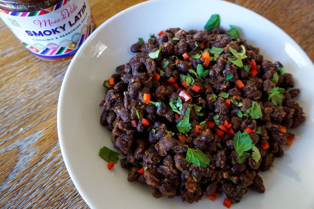 healthy and delicious bowl of Smoky Latin flavored braised black beans