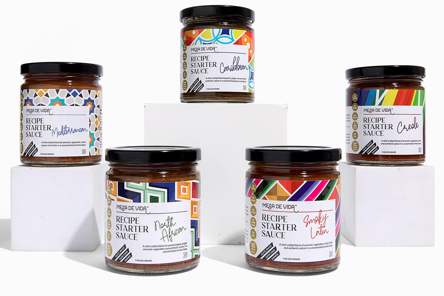 Mesa de Vida Recipe Starter Sauces global flavor collection lined up on a white background