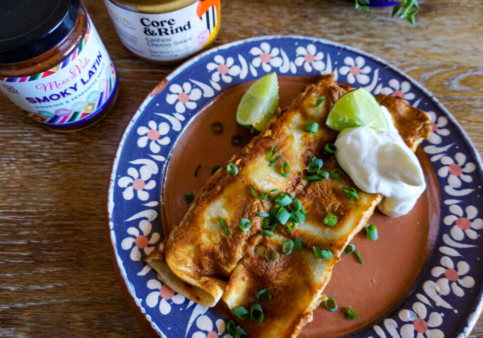 Homemade vegan bean enchilada recipe with Mesa de Vida Smoky Latin Cooking sauce and vegan cheese sauce